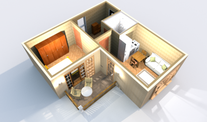 Апартамент А 3-5 3D вид AntiquePalace